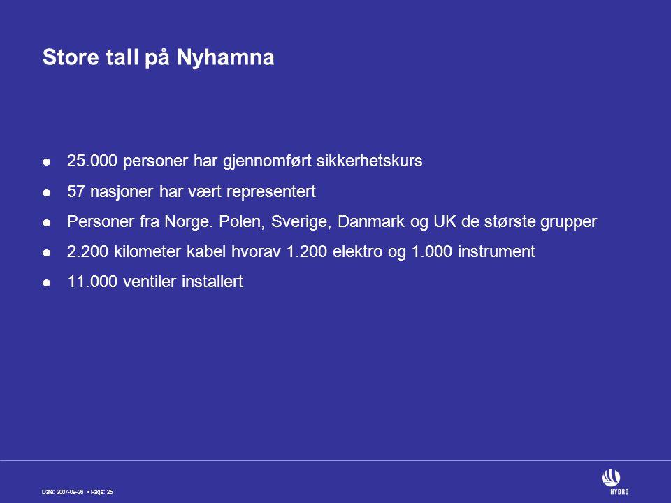 Date: 2007-09-26 Page: 25 Store tall på Nyhamna 25.000 personer har gjennomført sikkerhetskurs 57 nasjoner har vært representert Personer fra Norge.