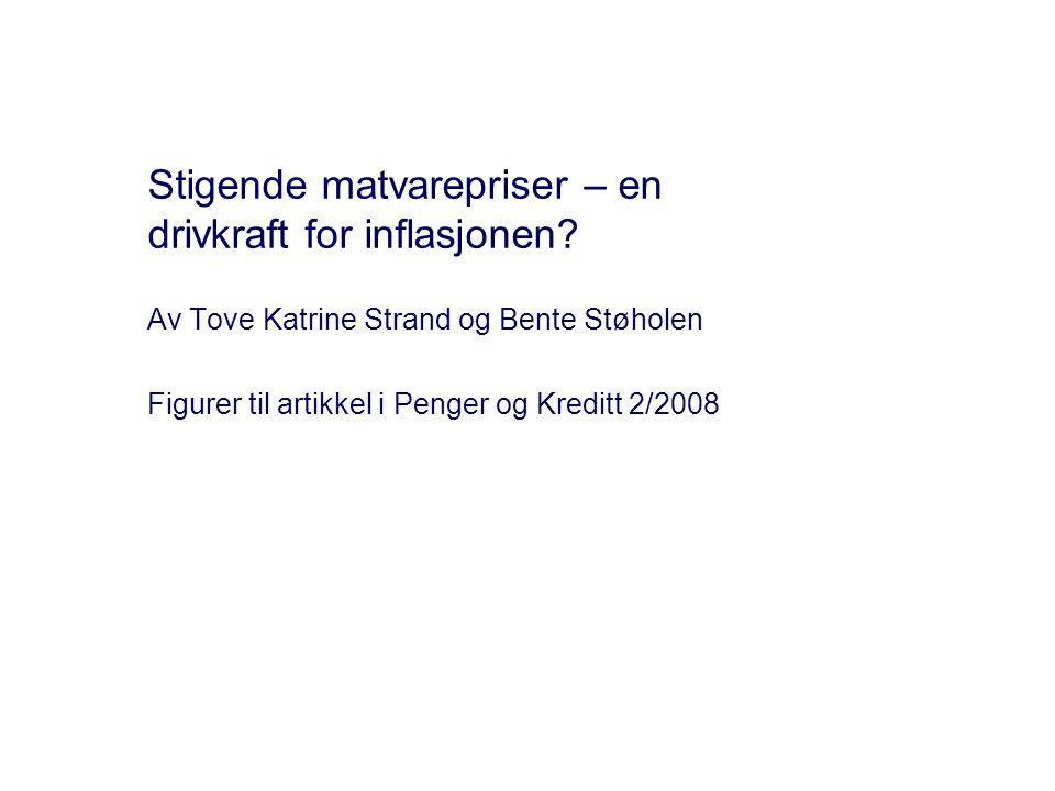 Stigende matvarepriser – en drivkraft for inflasjonen? Av Tove Katrine Strand og Bente Støholen Figurer til artikkel i Penger og Kreditt 2/2008