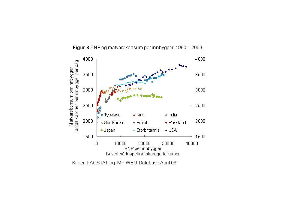 Figur 8 BNP og matvarekonsum per innbygger. 1980 – 2003 Kilder: FAOSTAT og IMF WEO Database April 08 BNP per innbygger Basert på kjøpekraftskorrigerte
