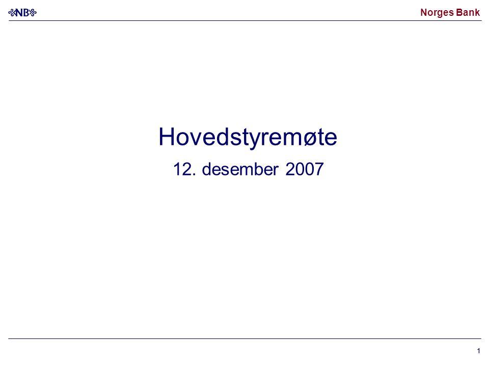 Norges Bank 11 Hovedstyremøte 12. desember 2007