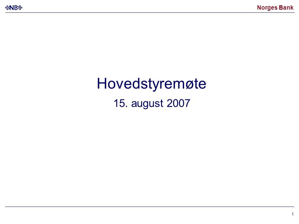 Norges Bank 1 Hovedstyremøte 15. august 2007