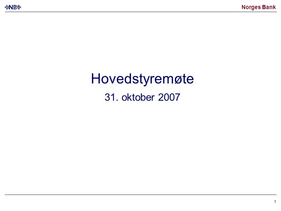 Norges Bank 1 Hovedstyremøte 31. oktober 2007