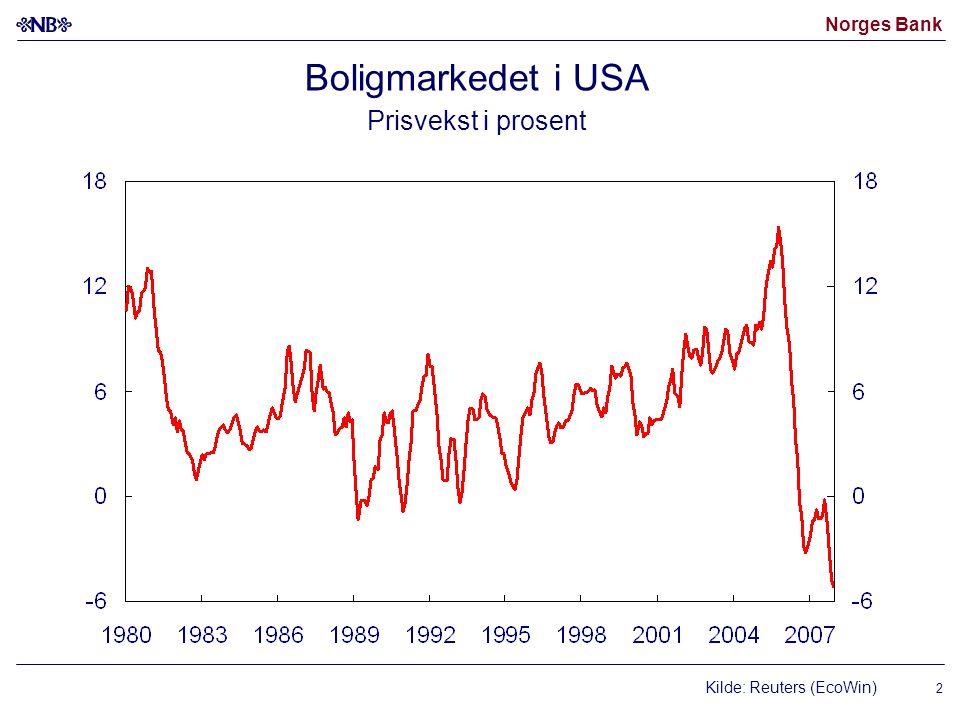 Norges Bank 23 Andelen personer med lavinntekt i Norge Basert på grensen for 1994.