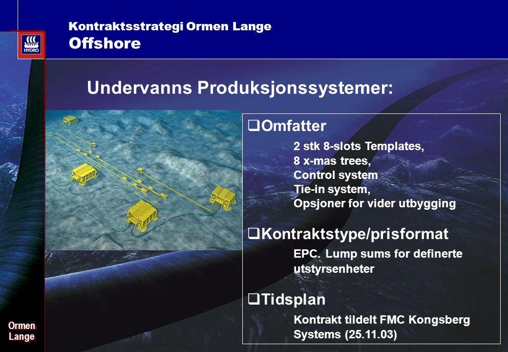 Date: 2003-02-02 - Page: 14 OrmenLangeOrmenLange Kontraktsstrategi Ormen Lange Offshore Undervanns Produksjonssystemer:  Omfatter 2 stk 8-slots Templates, 8 x-mas trees, Control system Tie-in system, Opsjoner for vider utbygging  Kontraktstype/prisformat EPC.