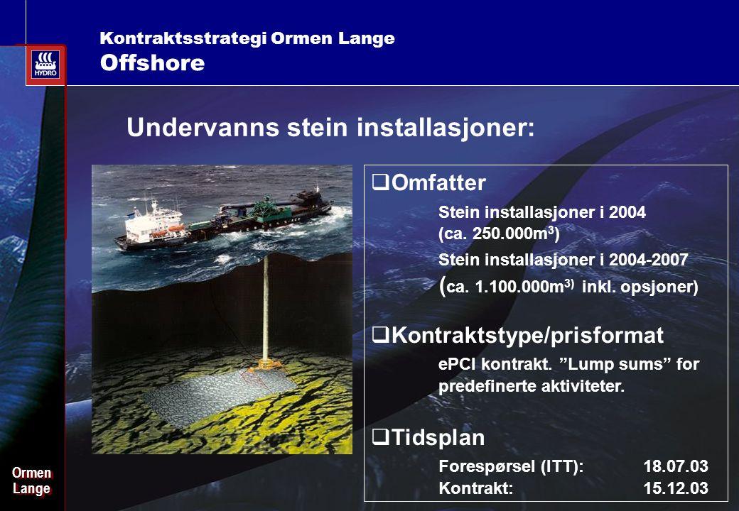 Date: 2003-02-02 - Page: 15 OrmenLangeOrmenLange Kontraktsstrategi Ormen Lange Offshore Undervanns stein installasjoner:  Omfatter Stein installasjoner i 2004 (ca.