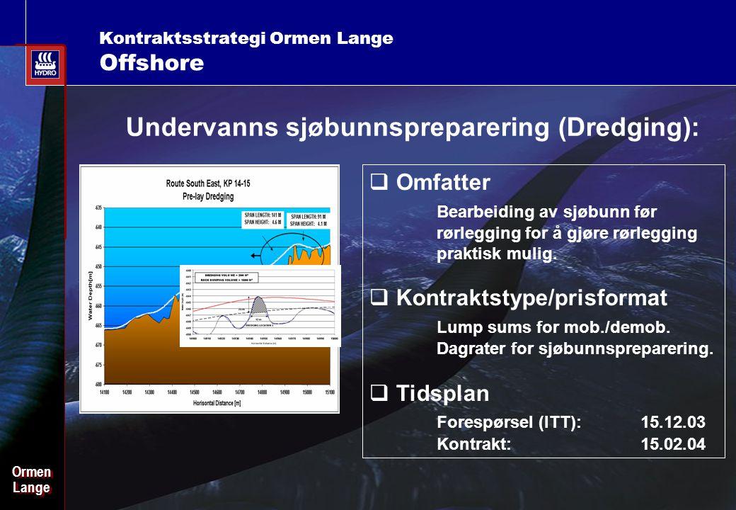 Date: 2003-02-02 - Page: 16 OrmenLangeOrmenLange Kontraktsstrategi Ormen Lange Offshore Undervanns sjøbunnspreparering (Dredging):  Omfatter Bearbeiding av sjøbunn før rørlegging for å gjøre rørlegging praktisk mulig.