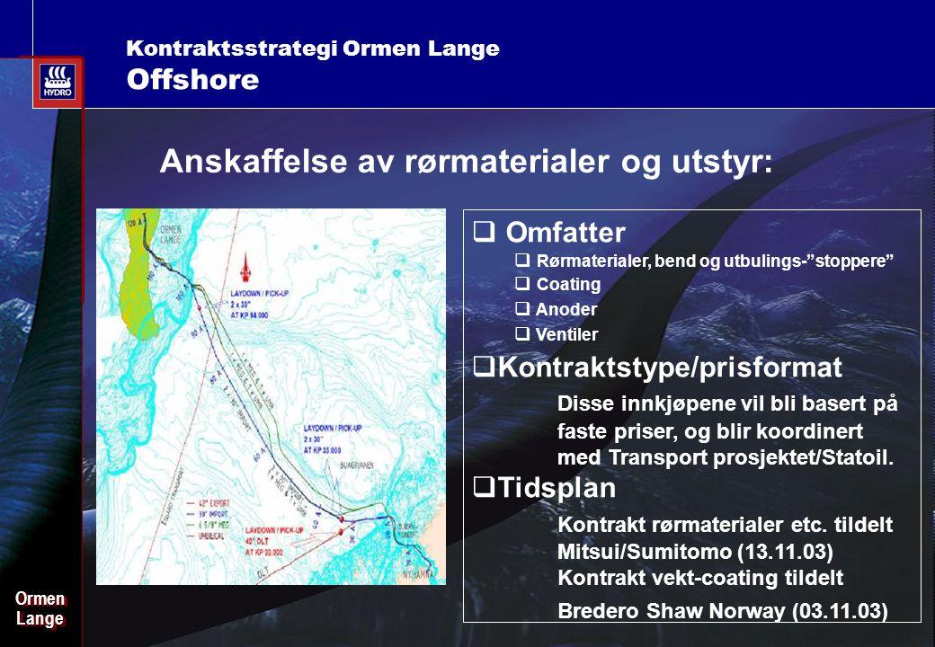 Date: 2003-02-02 - Page: 18 OrmenLangeOrmenLange Kontraktsstrategi Ormen Lange Offshore Anskaffelse av rørmaterialer og utstyr:  Omfatter  Rørmateri