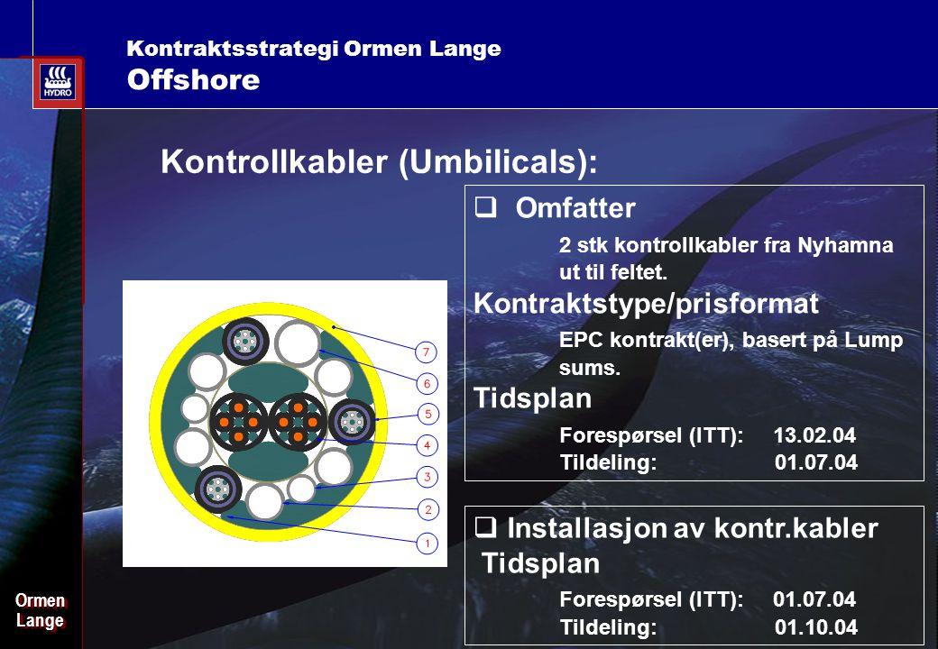 Date: 2003-02-02 - Page: 22 OrmenLangeOrmenLange Kontraktsstrategi Ormen Lange Offshore Kontrollkabler (Umbilicals):  Omfatter 2 stk kontrollkabler fra Nyhamna ut til feltet.
