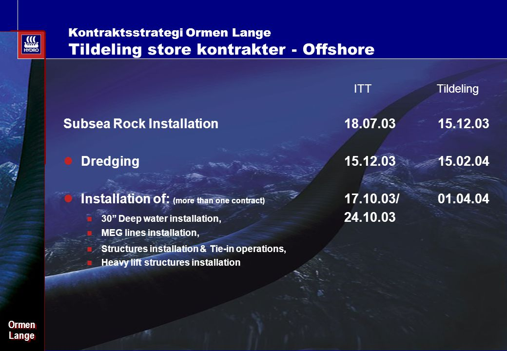 Date: 2003-02-02 - Page: 24 OrmenLangeOrmenLange Subsea Rock Installation18.07.0315.12.03 Dredging 15.12.0315.02.04 Installation of: (more than one co
