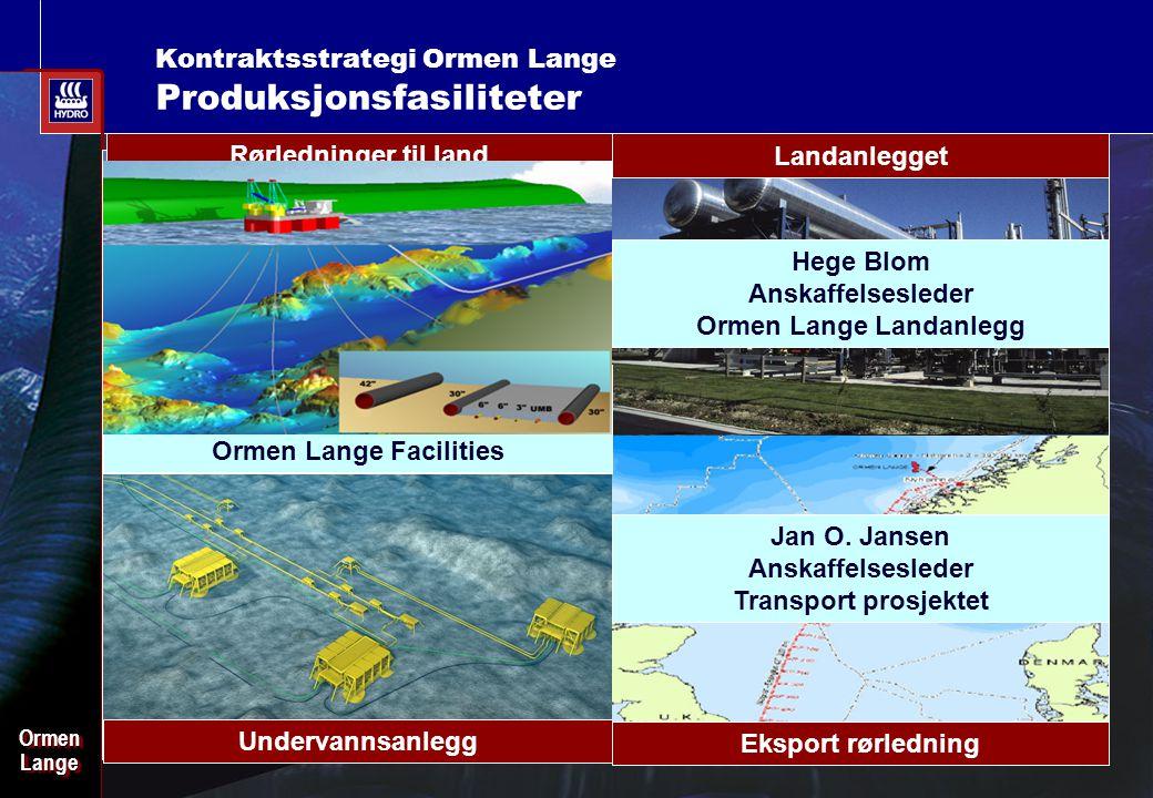 Date: 2003-02-02 - Page: 3 OrmenLangeOrmenLange Kontraktsstrategi Ormen Lange Produksjonsfasiliteter Undervannsanlegg 2xUMB Rørledninger til land Land