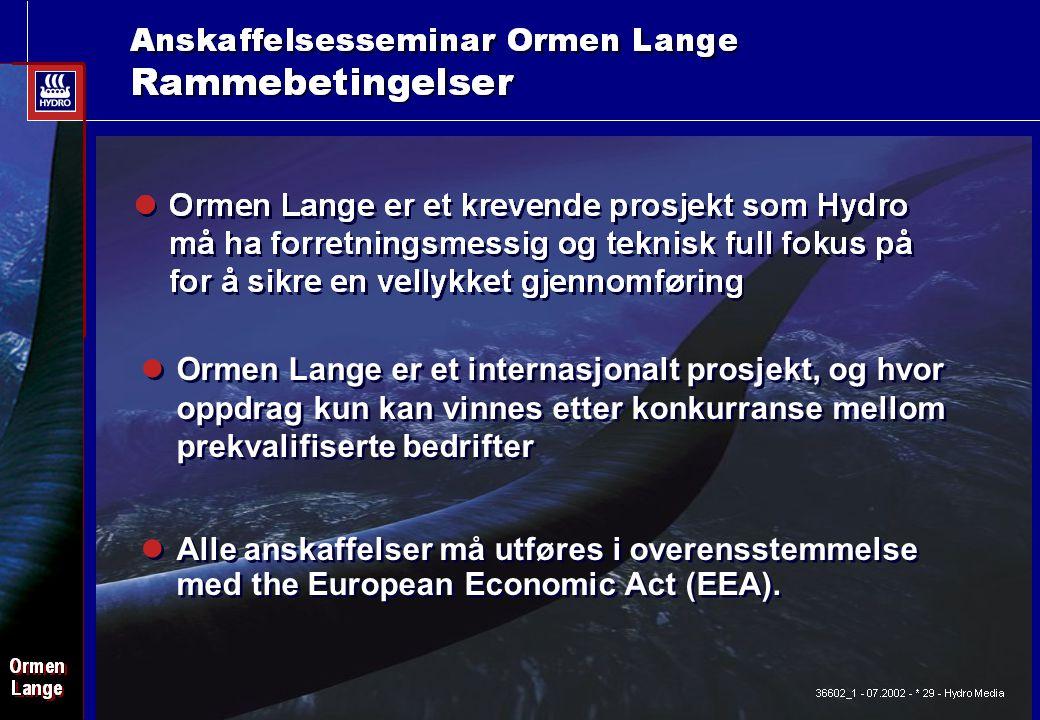 Date: 2003-02-02 - Page: 4 Ormen Lange er et internasjonalt prosjekt, og hvor oppdrag kun kan vinnes etter konkurranse mellom prekvalifiserte bedrifter Alle anskaffelser må utføres i overensstemmelse med the European Economic Act (EEA).