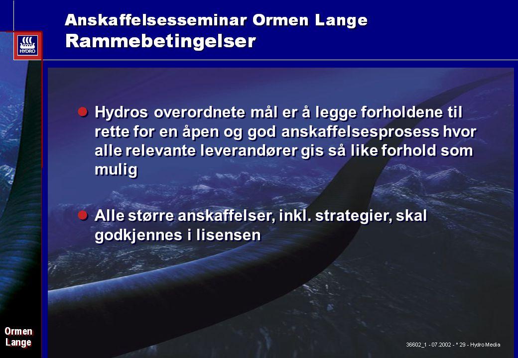 Date: 2003-02-02 - Page: 5 Alle større anskaffelser, inkl. strategier, skal godkjennes i lisensen Hydros overordnete mål er å legge forholdene til ret