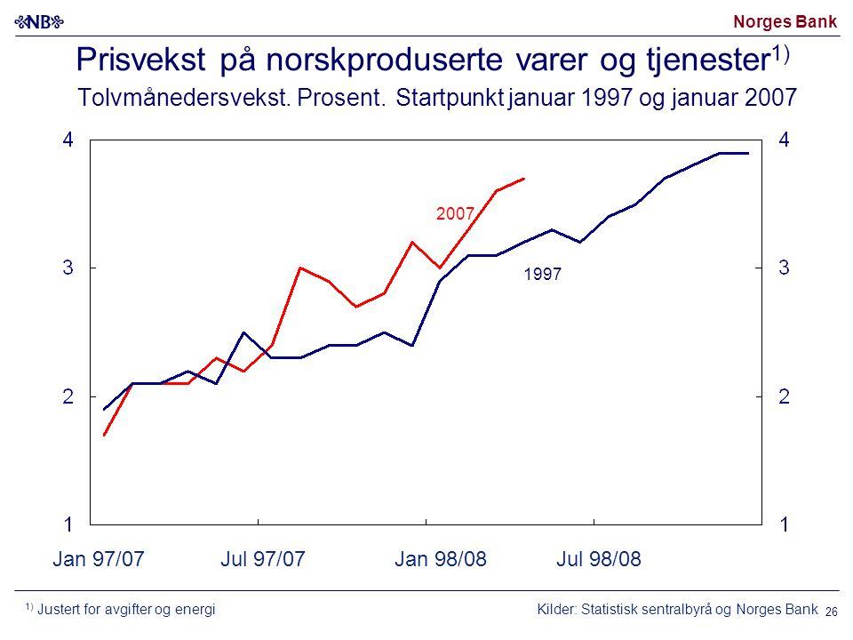 Norges Bank 26 Jan 97/07Jul 97/07Jan 98/08Jul 98/08 Prisvekst på norskproduserte varer og tjenester 1) Tolvmånedersvekst.