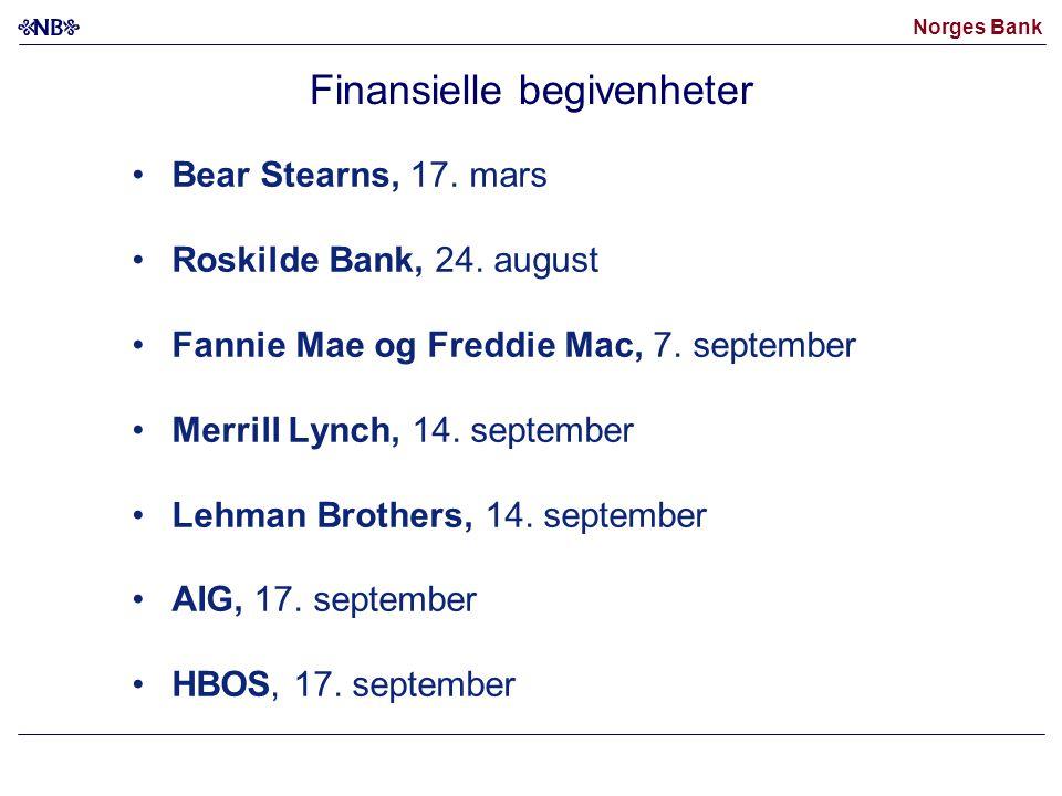 Norges Bank Finansielle begivenheter Bear Stearns, 17.