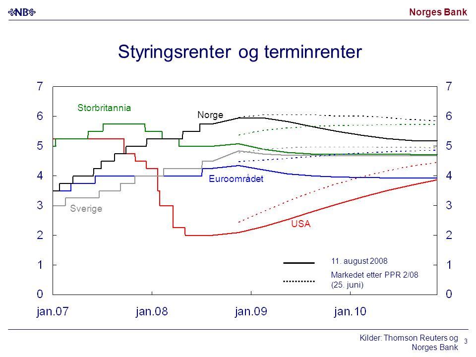 Norges Bank 3 Kilder: Thomson Reuters og Norges Bank Styringsrenter og terminrenter Norge USA Euroområdet 11. august 2008 Markedet etter PPR 2/08 (25.