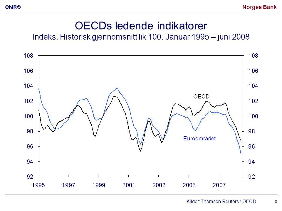 Norges Bank 8 OECDs ledende indikatorer Indeks. Historisk gjennomsnitt lik 100. Januar 1995 – juni 2008 Kilder: Thomson Reuters / OECD Euroområdet OEC