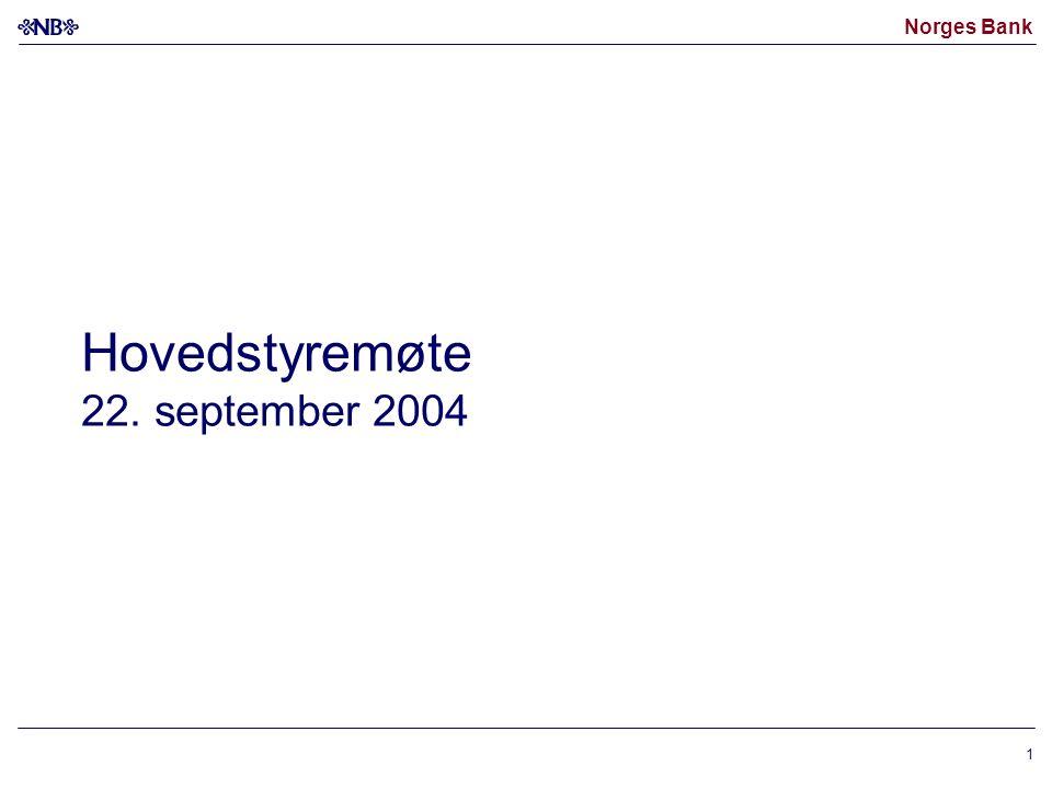 Norges Bank 12 1) Stigende kurve betyr sterkere kronekurs Kilde: Norges Bank Utviklingen i kronekursen 1) (I-44) Dagstall.