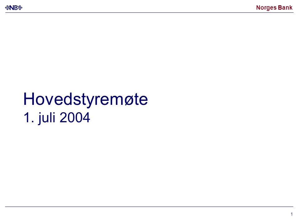 Norges Bank 1 Hovedstyremøte 1. juli 2004