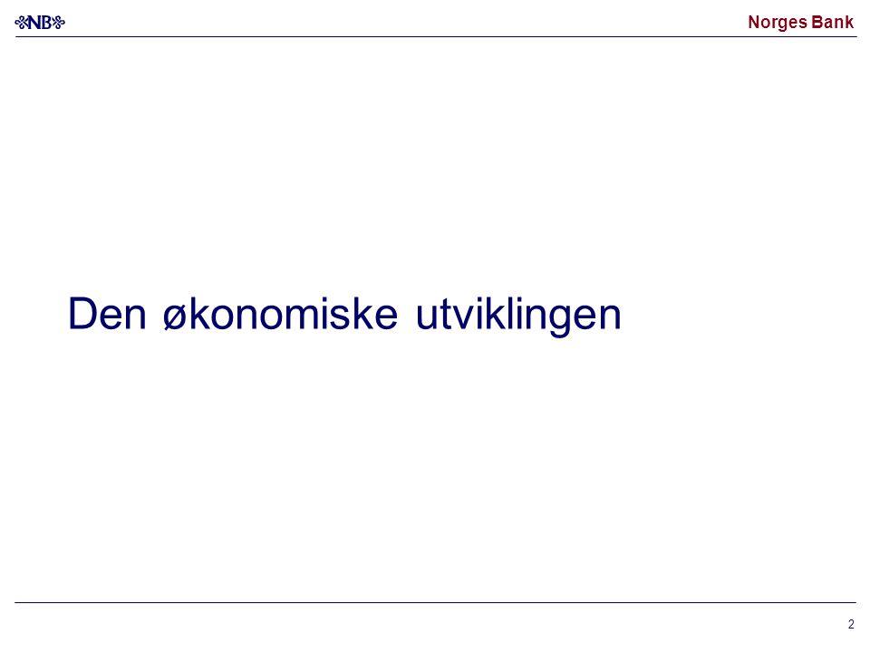Norges Bank 23 Anslag på KPI-JAE 1) og produksjonsgapet 2) Inflasjonsrapport 2/04 (blå) og 3/04 (rød).