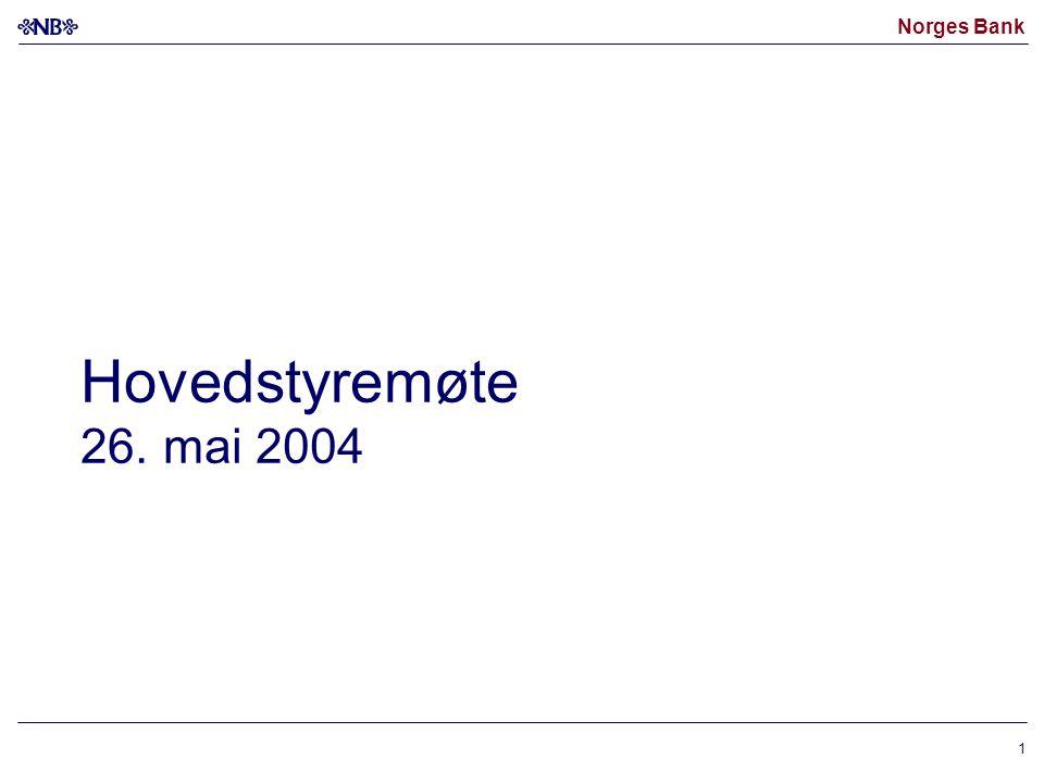Norges Bank 1 Hovedstyremøte 26. mai 2004