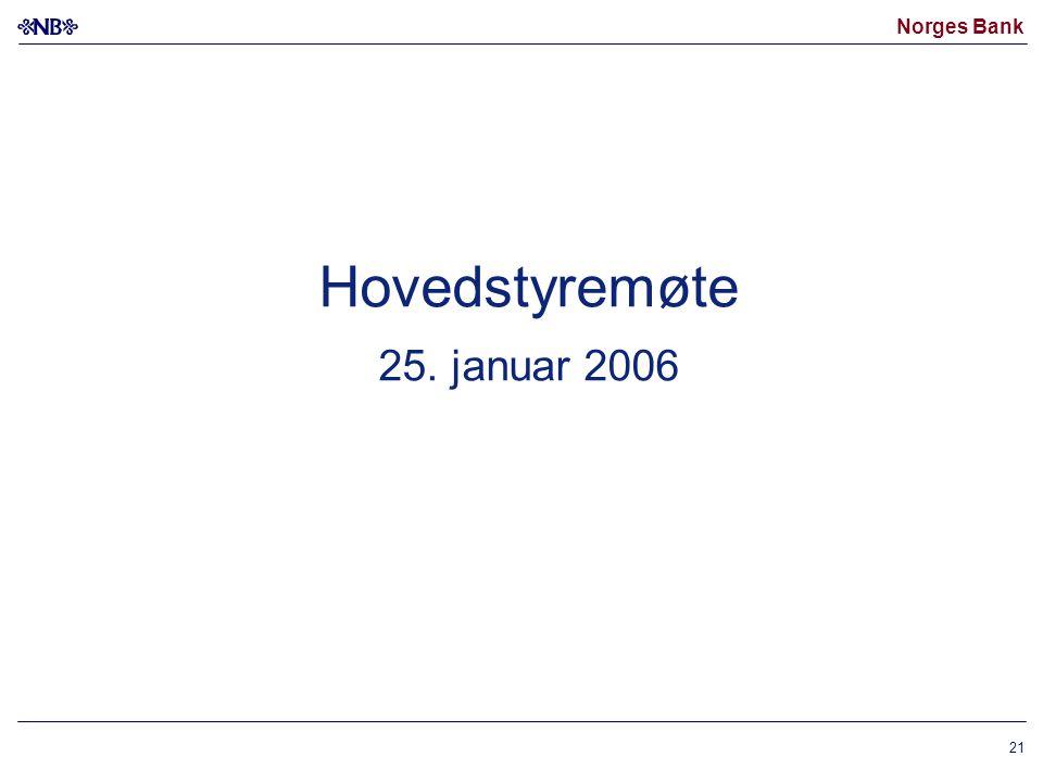 Norges Bank 21 Hovedstyremøte 25. januar 2006