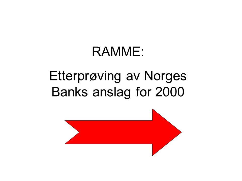 RAMME: Etterprøving av Norges Banks anslag for 2000