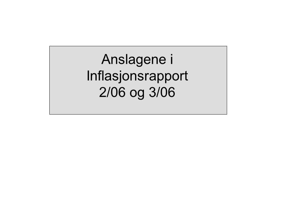 Anslagene i Inflasjonsrapport 2/06 og 3/06