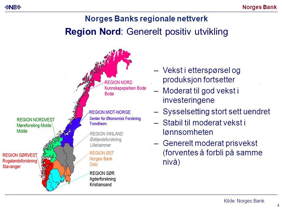 Norges Bank 4 Norges Banks regionale nettverk Region Nord: Generelt positiv utvikling –Vekst i etterspørsel og produksjon fortsetter –Moderat til god vekst i investeringene –Sysselsetting stort sett uendret –Stabil til moderat vekst i lønnsomheten –Generelt moderat prisvekst (forventes å forbli på samme nivå) Kilde: Norges Bank