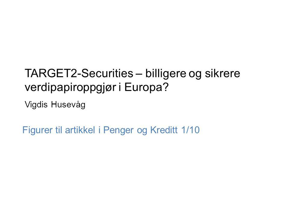 TARGET2-Securities – billigere og sikrere verdipapiroppgjør i Europa? Vigdis Husevåg Figurer til artikkel i Penger og Kreditt 1/10