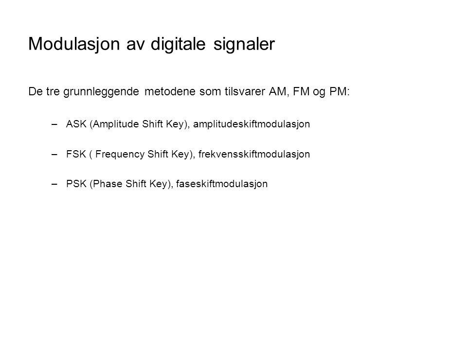 Modulasjon av digitale signaler De tre grunnleggende metodene som tilsvarer AM, FM og PM: –ASK (Amplitude Shift Key), amplitudeskiftmodulasjon –FSK ( Frequency Shift Key), frekvensskiftmodulasjon –PSK (Phase Shift Key), faseskiftmodulasjon