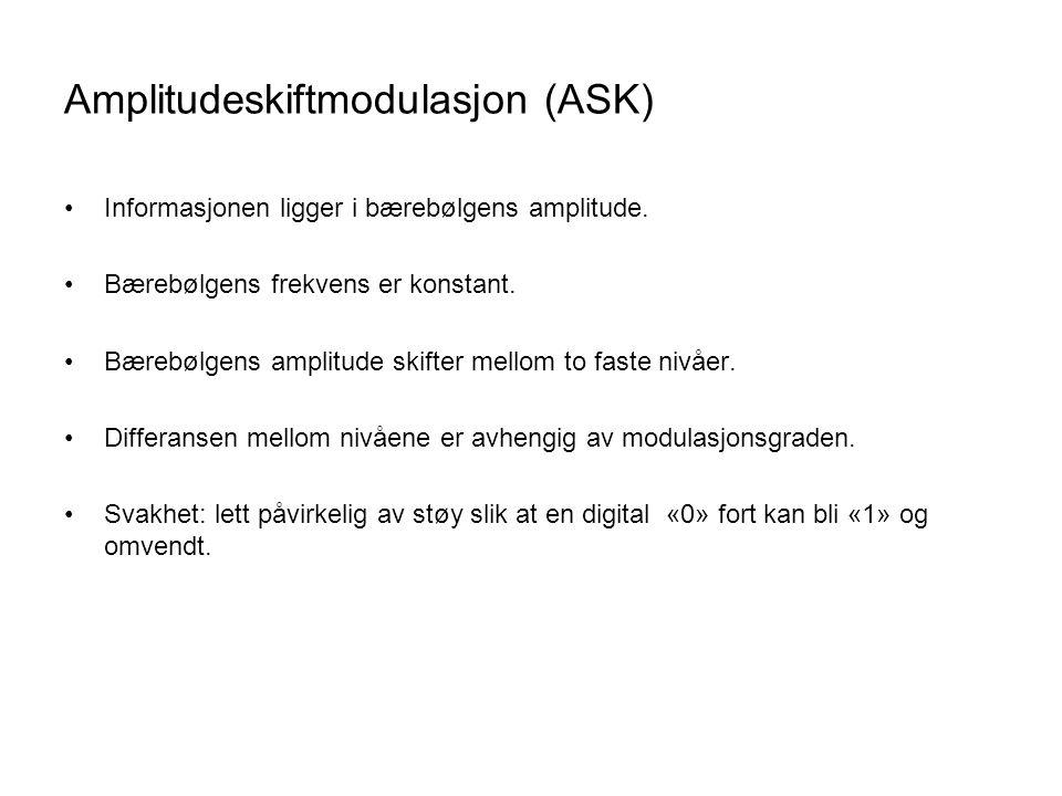 Amplitudeskiftmodulasjon (ASK) Informasjonen ligger i bærebølgens amplitude.