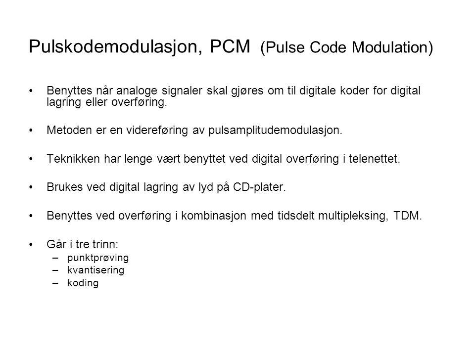 Pulskodemodulasjon, PCM (Pulse Code Modulation) Benyttes når analoge signaler skal gjøres om til digitale koder for digital lagring eller overføring.