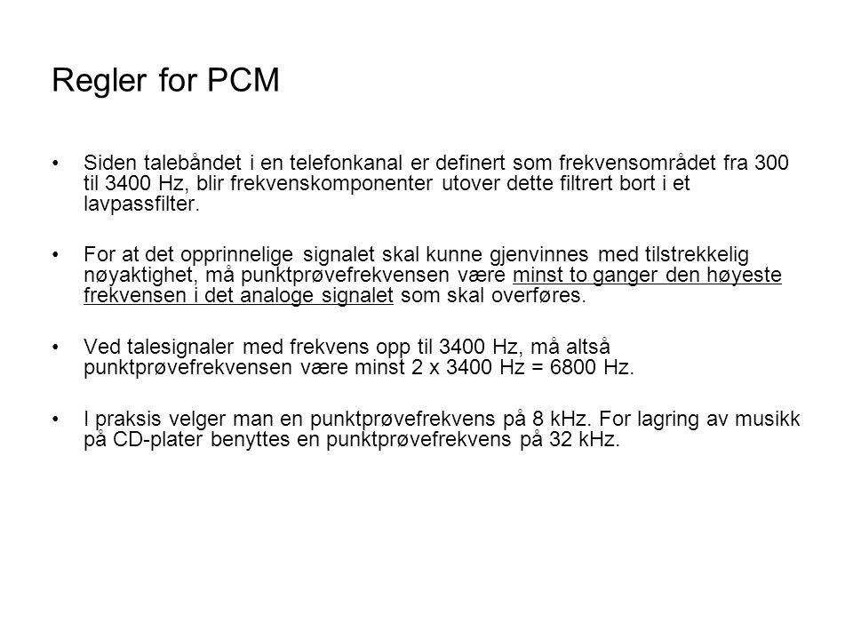 Regler for PCM Siden talebåndet i en telefonkanal er definert som frekvensområdet fra 300 til 3400 Hz, blir frekvenskomponenter utover dette filtrert bort i et lavpassfilter.