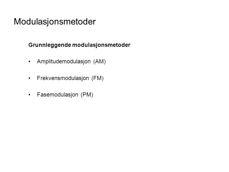 Modulasjonsmetoder Grunnleggende modulasjonsmetoder Amplitudemodulasjon (AM) Frekvensmodulasjon (FM) Fasemodulasjon (PM)
