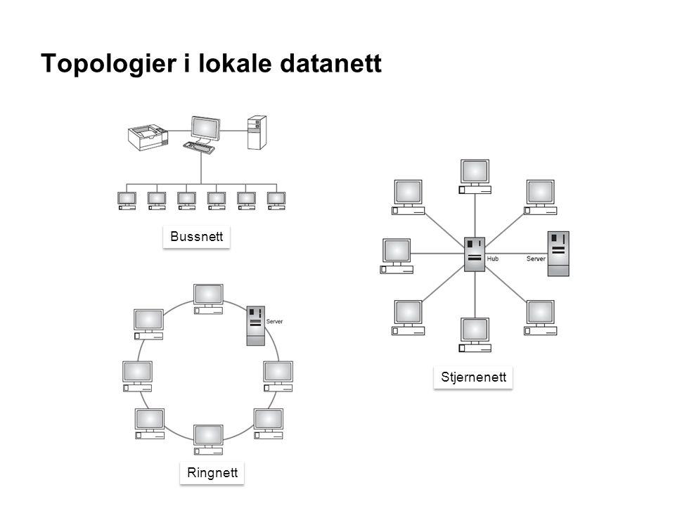 Topologier i lokale datanett Bussnett Ringnett Stjernenett