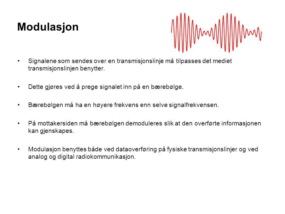 Modulasjon Signalene som sendes over en transmisjonslinje må tilpasses det mediet transmisjonslinjen benytter. Dette gjøres ved å prege signalet inn p