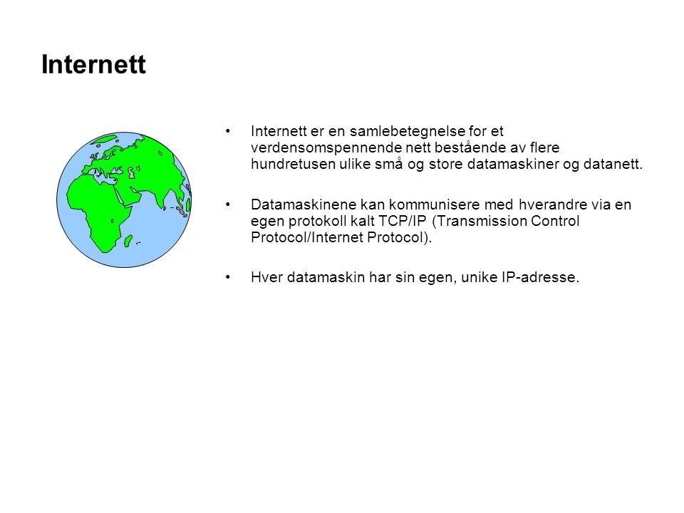 Internett Internett er en samlebetegnelse for et verdensomspennende nett bestående av flere hundretusen ulike små og store datamaskiner og datanett. D