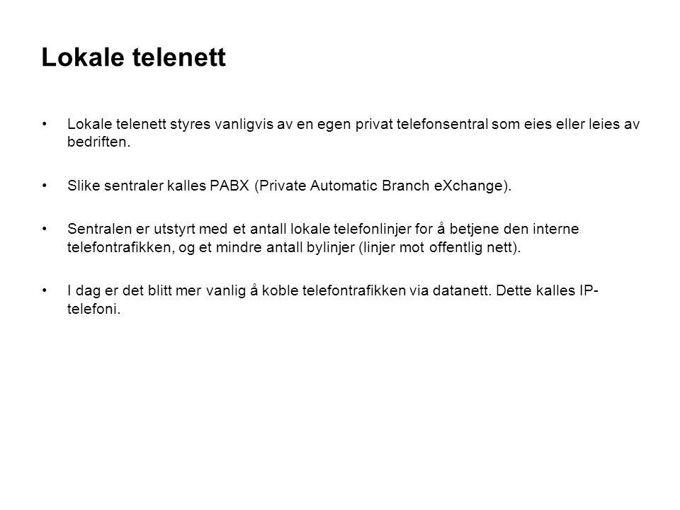 Lokale telenett PABX Svitsj Ruter LAN Inter- nett På denne linken kan du se hvordan en IP telefonsentral virker samtidig som du kan få forståelse for ulike begreper: IP-telefoni http://www.3cx.no