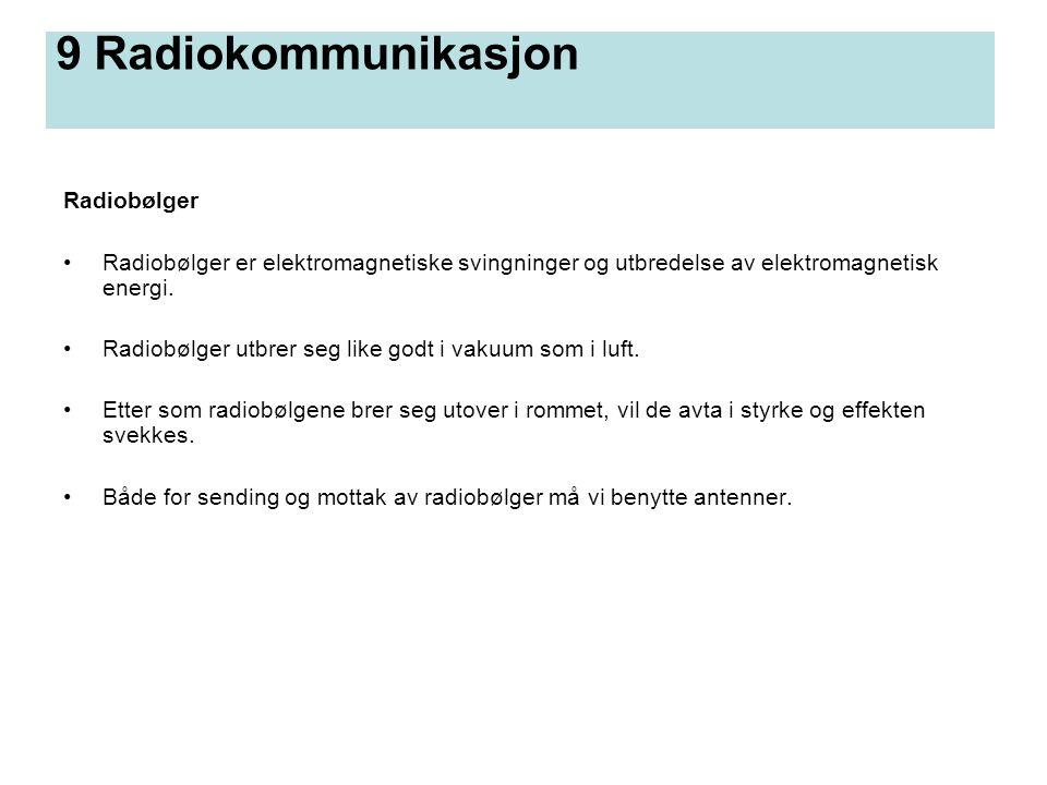 9 Radiokommunikasjon Radiobølger Radiobølger er elektromagnetiske svingninger og utbredelse av elektromagnetisk energi. Radiobølger utbrer seg like go