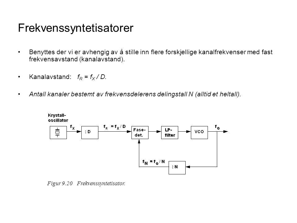 Frekvenssyntetisatorer Benyttes der vi er avhengig av å stille inn flere forskjellige kanalfrekvenser med fast frekvensavstand (kanalavstand).
