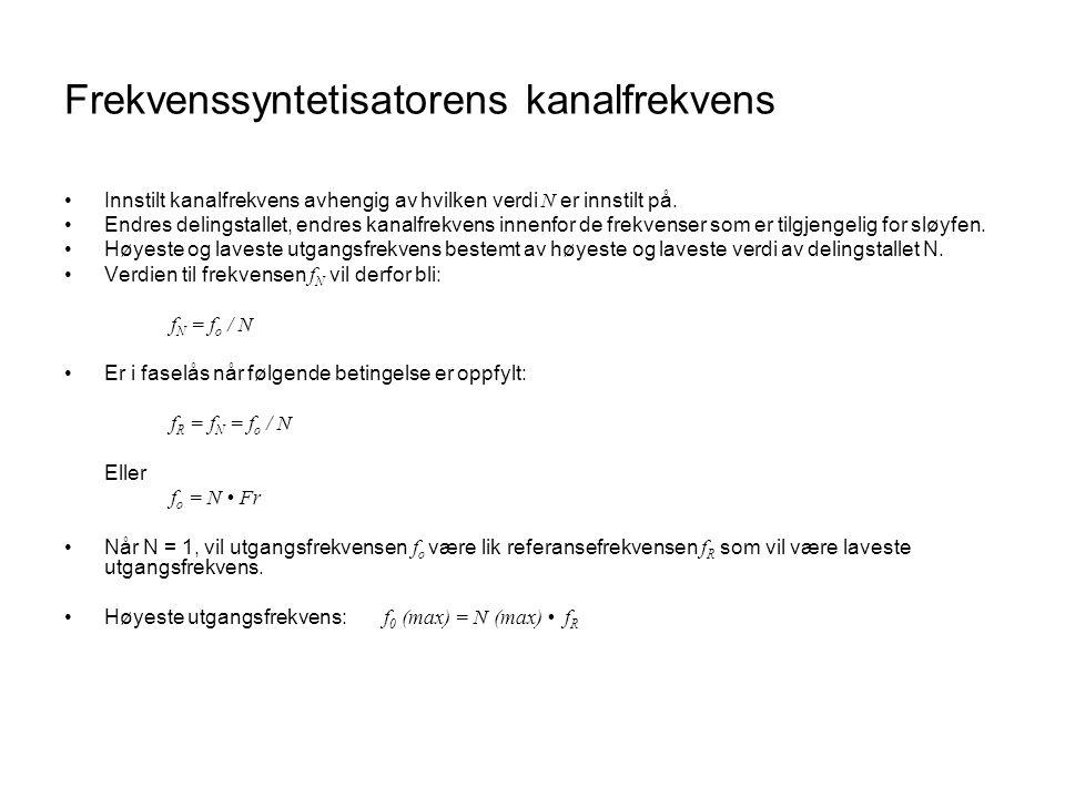 Frekvenssyntetisatorens kanalfrekvens Innstilt kanalfrekvens avhengig av hvilken verdi N er innstilt på. Endres delingstallet, endres kanalfrekvens in