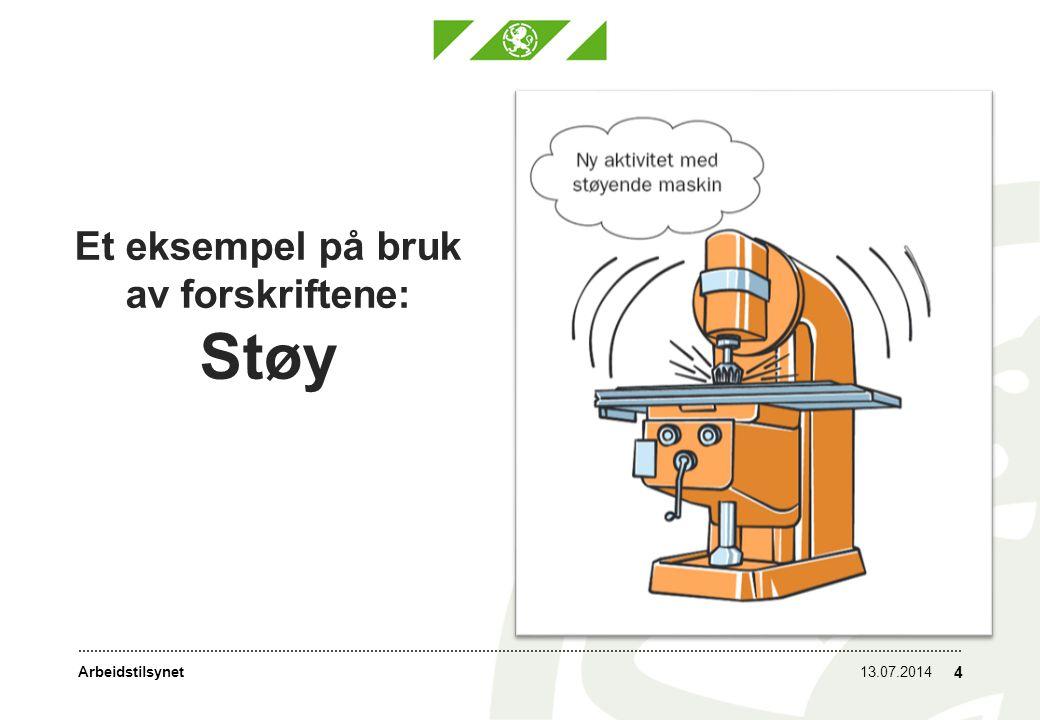Arbeidstilsynet Et eksempel på bruk av forskriftene: Støy 13.07.2014 4