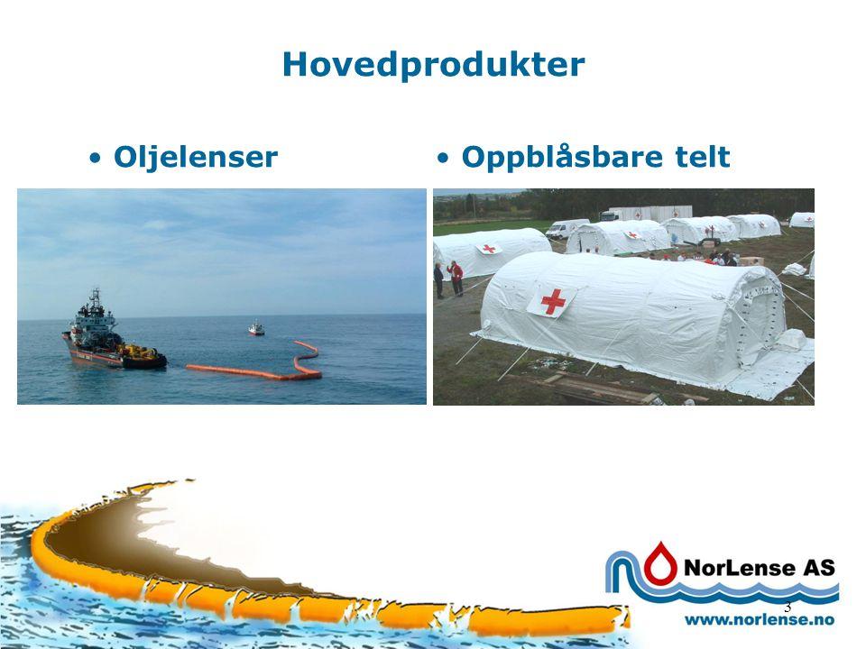 3 Hovedprodukter Oljelenser Oppblåsbare telt