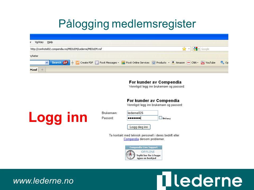 www.lederne.no Pålogging medlemsregister Logg inn