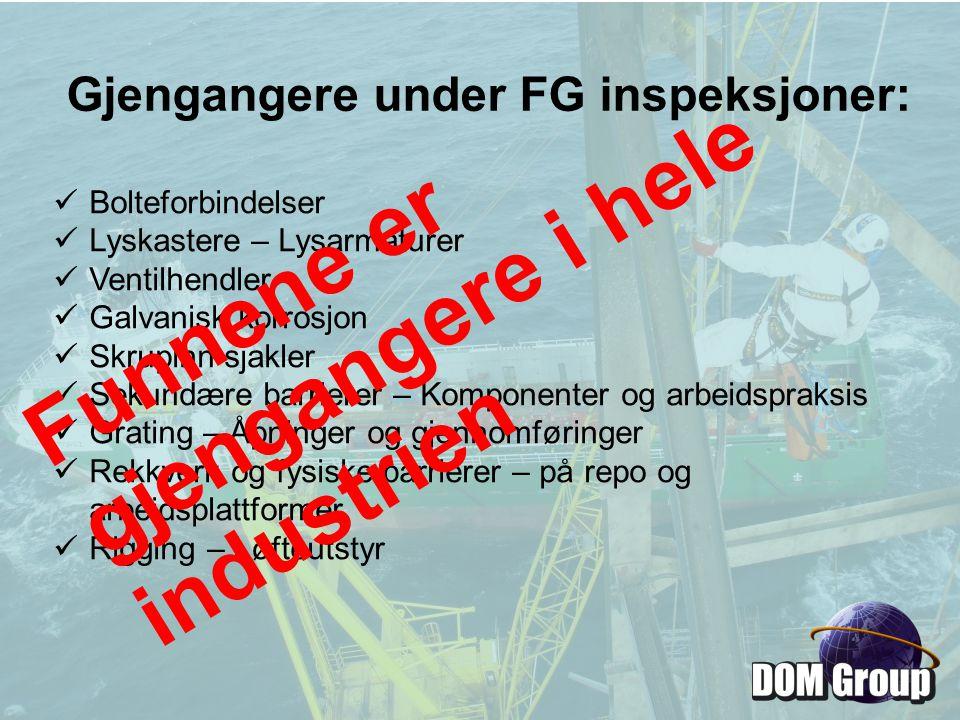 Gjengangere under FG inspeksjoner: Bolteforbindelser Lyskastere – Lysarmaturer Ventilhendler Galvanisk korrosjon Skrupinn sjakler Sekundære barrierer