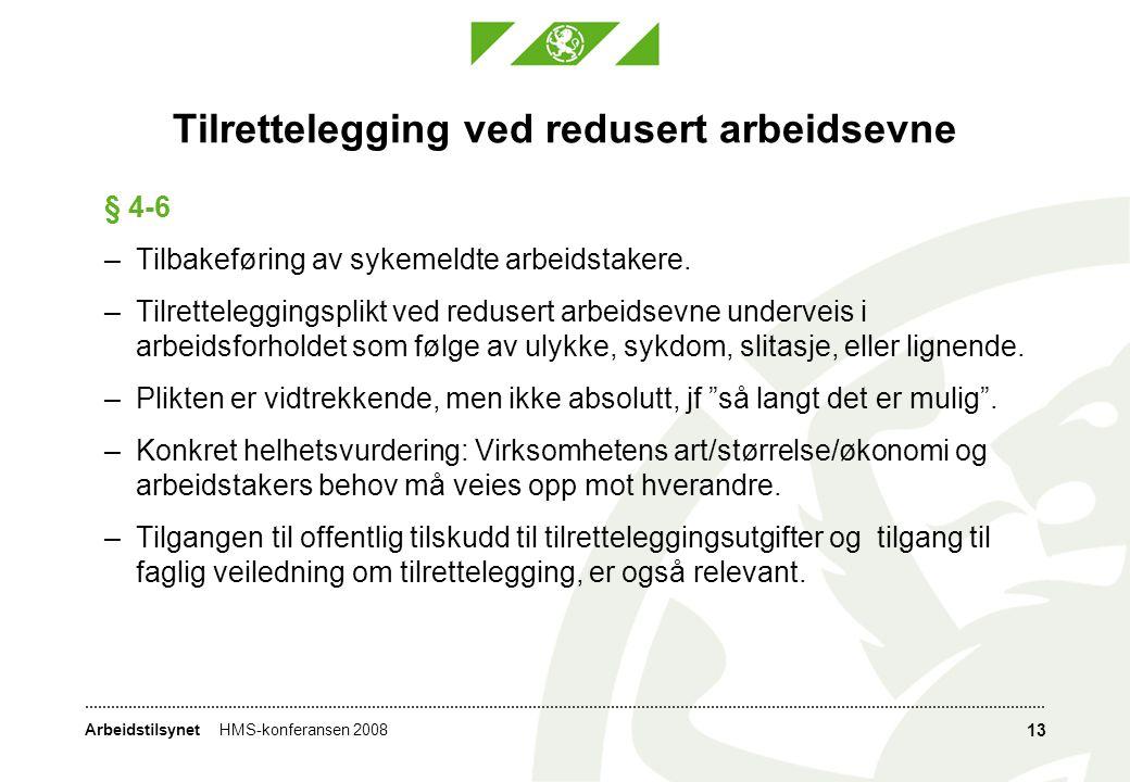 ArbeidstilsynetHMS-konferansen 2008 13 Tilrettelegging ved redusert arbeidsevne § 4-6 –Tilbakeføring av sykemeldte arbeidstakere.