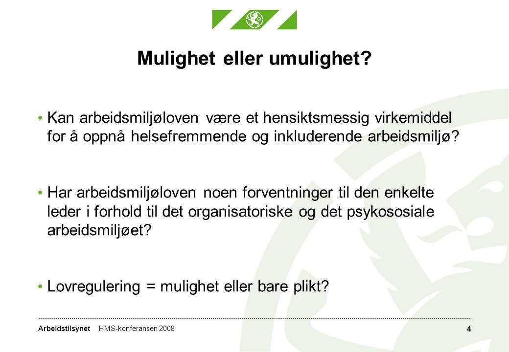 ArbeidstilsynetHMS-konferansen 2008 4 Mulighet eller umulighet.