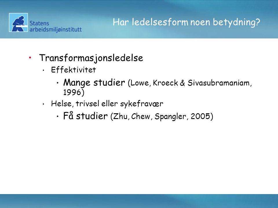 Har ledelsesform noen betydning? Transformasjonsledelse Effektivitet Mange studier (Lowe, Kroeck & Sivasubramaniam, 1996) Helse, trivsel eller sykefra