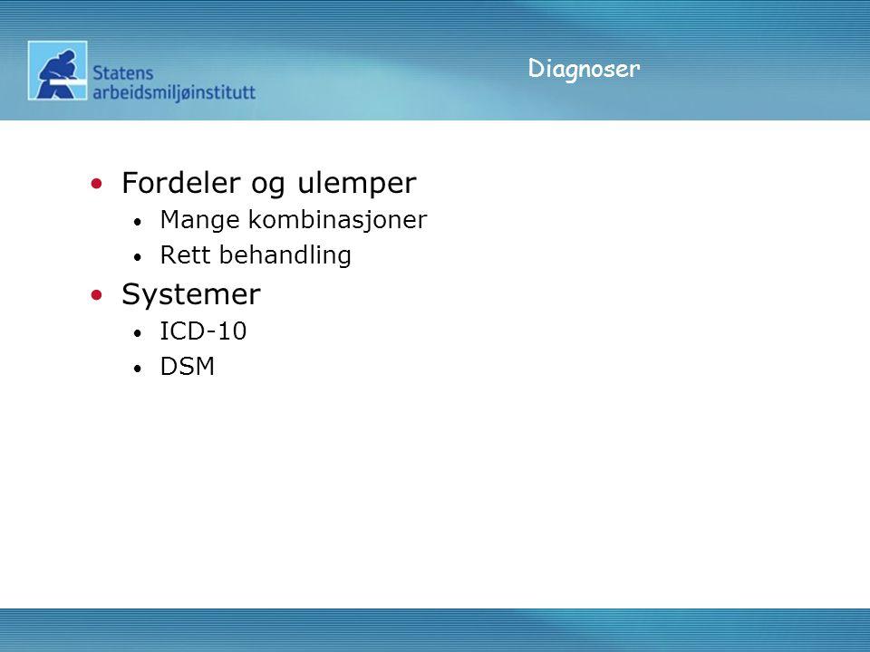 Diagnoser Fordeler og ulemper Mange kombinasjoner Rett behandling Systemer ICD-10 DSM