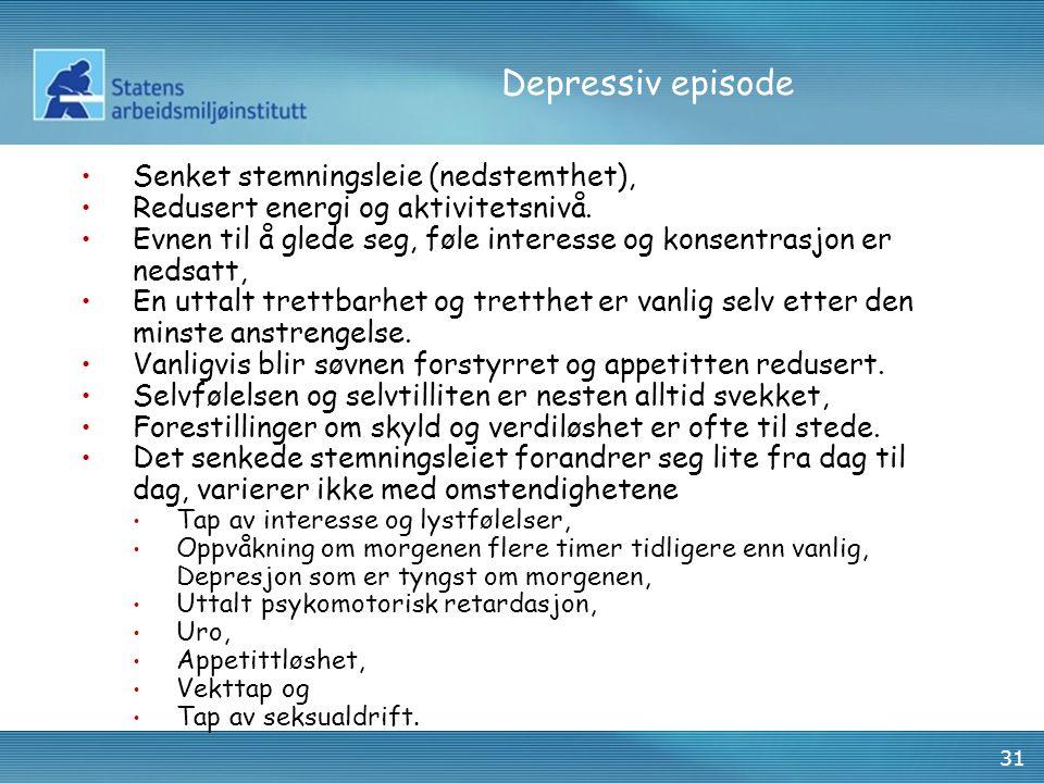 31 Depressiv episode Senket stemningsleie (nedstemthet), Redusert energi og aktivitetsnivå. Evnen til å glede seg, føle interesse og konsentrasjon er